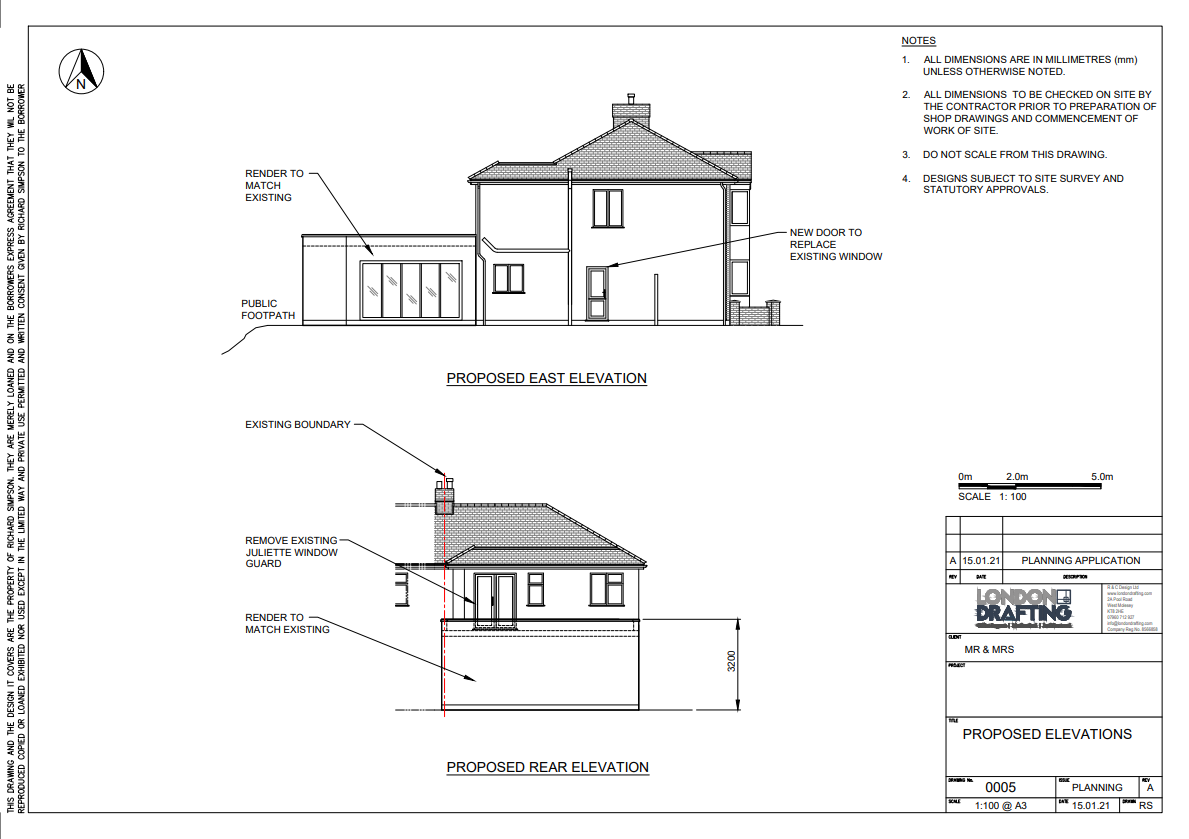 Example side elevation plan