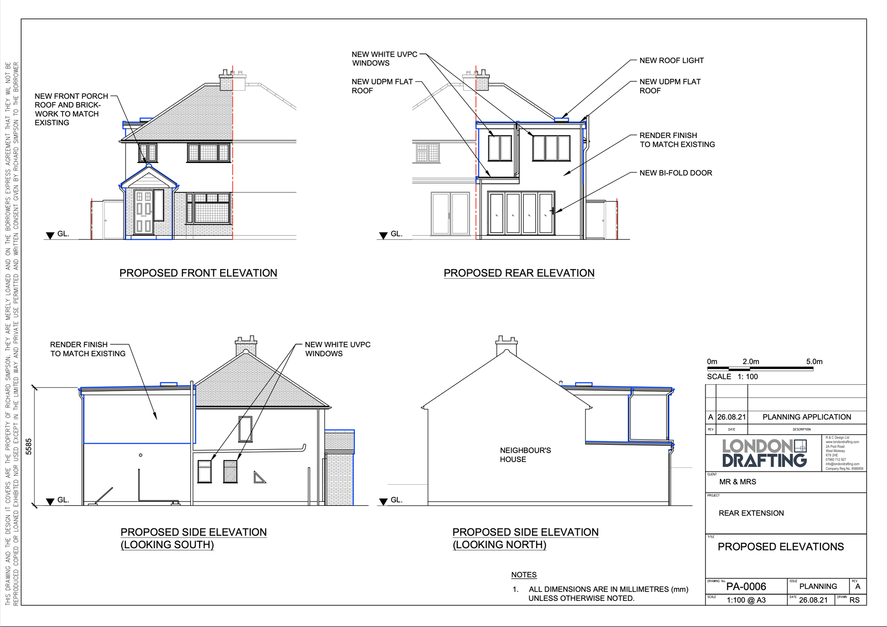 Rear extension on home plan